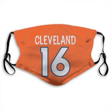 Denver Broncos Tyrie Cleveland Orange Jersey Name & Number Face Mask