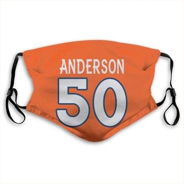 Denver Broncos Zaire Anderson Orange Jersey Name & Number Face Mask