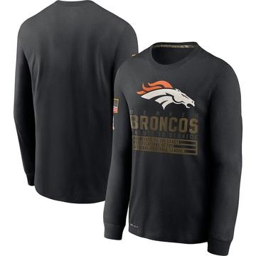 Men's Nike Denver Broncos Black 2020 Salute to Service Sideline Performance Long Sleeve T-Shirt -