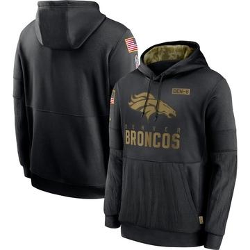 Men's Nike Denver Broncos Black 2020 Salute to Service Sideline Performance Pullover Hoodie -
