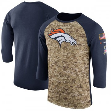 Men's Nike Denver Broncos Camo /Navy Salute to Service 2017 Sideline Performance Three-Quarter Sleeve T-Shirt - Legend