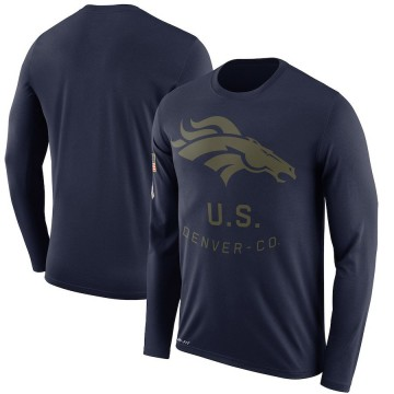 Men's Nike Denver Broncos Navy 2018 Salute to Service Sideline Performance Long Sleeve T-Shirt - Legend