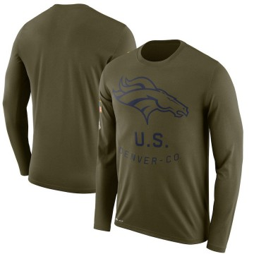Men's Nike Denver Broncos Olive 2018 Salute to Service Sideline Performance Long Sleeve T-Shirt - Legend
