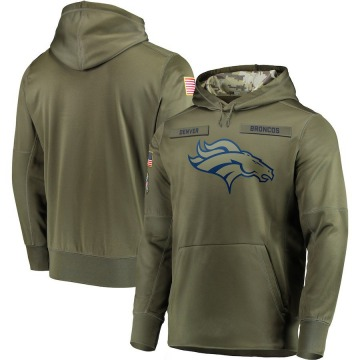 Men's Nike Denver Broncos Olive 2018 Salute to Service Sideline Therma Performance Pullover Hoodie -