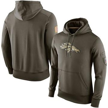 Men's Nike Denver Broncos Olive Salute To Service KO Performance Hoodie -