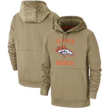 Men's Nike Denver Broncos Tan 2019 Salute to Service Sideline Therma Pullover Hoodie -