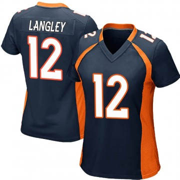 Women's Nike Denver Broncos Brendan Langley Navy Blue Alternate Jersey - Game