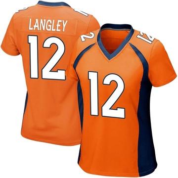 Women's Nike Denver Broncos Brendan Langley Orange Team Color Jersey - Game