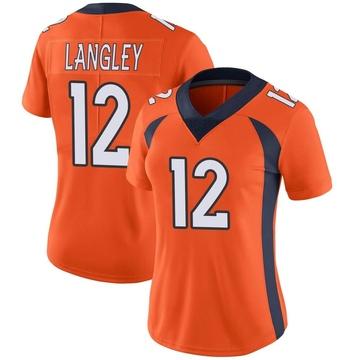 Women's Nike Denver Broncos Brendan Langley Orange Team Color Vapor Untouchable Jersey - Limited