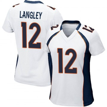 Women's Nike Denver Broncos Brendan Langley White Jersey - Game