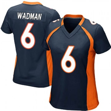 Women's Nike Denver Broncos Colby Wadman Navy Blue Alternate Jersey - Game