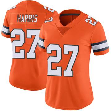 Women's Nike Denver Broncos Davontae Harris Orange Color Rush Vapor Untouchable Jersey - Limited