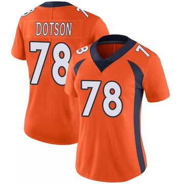 Women's Nike Denver Broncos Demar Dotson Orange 100th Vapor Jersey - Limited