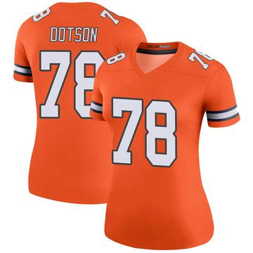 Women's Nike Denver Broncos Demar Dotson Orange Color Rush Jersey - Legend