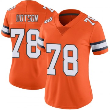 Women's Nike Denver Broncos Demar Dotson Orange Color Rush Vapor Untouchable Jersey - Limited