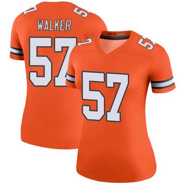 Women's Nike Denver Broncos Demarcus Walker Orange Color Rush Jersey - Legend