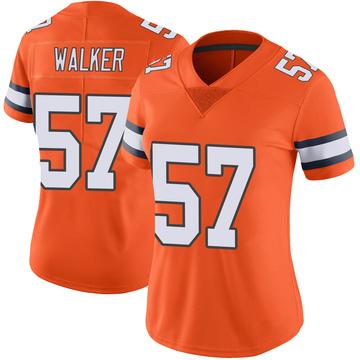 Women's Nike Denver Broncos Demarcus Walker Orange Color Rush Vapor Untouchable Jersey - Limited