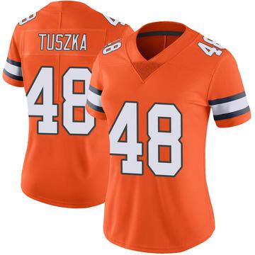 Women's Nike Denver Broncos Derrek Tuszka Orange Color Rush Vapor Untouchable Jersey - Limited