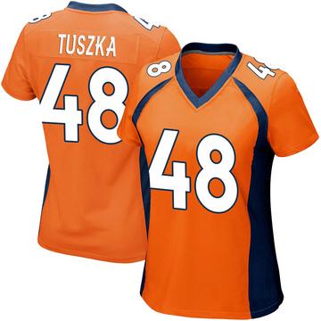 Women's Nike Denver Broncos Derrek Tuszka Orange Team Color Jersey - Game