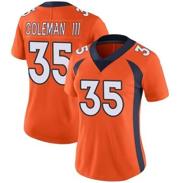 Women's Nike Denver Broncos Douglas Coleman III Orange Team Color Vapor Untouchable Jersey - Limited