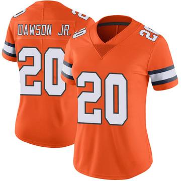 Women's Nike Denver Broncos Duke Dawson Jr. Orange Color Rush Vapor Untouchable Jersey - Limited