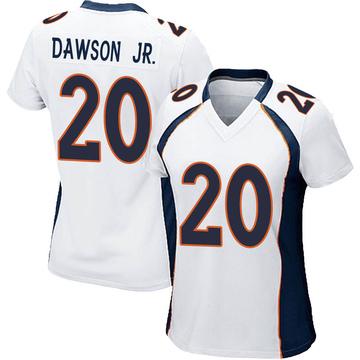 Women's Nike Denver Broncos Duke Dawson Jr. White Jersey - Game