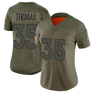 Women's Nike Denver Broncos Dymonte Thomas Camo 2019 Salute to Service Jersey - Limited
