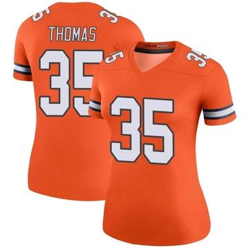 Women's Nike Denver Broncos Dymonte Thomas Orange Color Rush Jersey - Legend