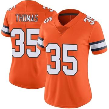 Women's Nike Denver Broncos Dymonte Thomas Orange Color Rush Vapor Untouchable Jersey - Limited