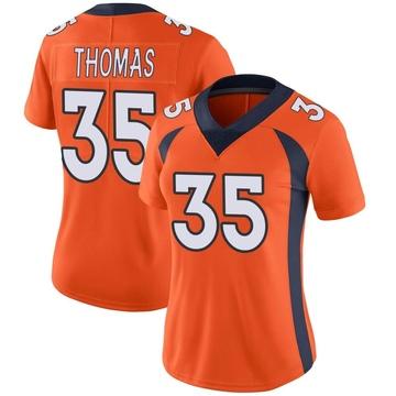 Women's Nike Denver Broncos Dymonte Thomas Orange Team Color Vapor Untouchable Jersey - Limited