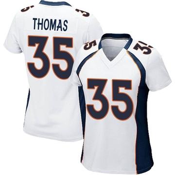 Women's Nike Denver Broncos Dymonte Thomas White Jersey - Game