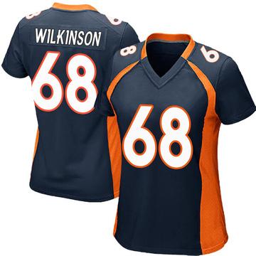 Women's Nike Denver Broncos Elijah Wilkinson Navy Blue Alternate Jersey - Game