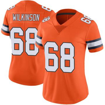 Women's Nike Denver Broncos Elijah Wilkinson Orange Color Rush Vapor Untouchable Jersey - Limited