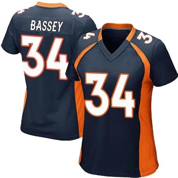 Women's Nike Denver Broncos Essang Bassey Navy Blue Alternate Jersey - Game