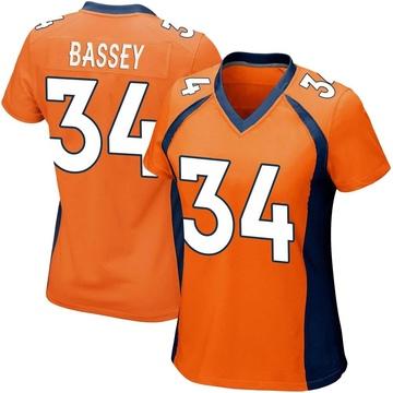 Women's Nike Denver Broncos Essang Bassey Orange Team Color Jersey - Game
