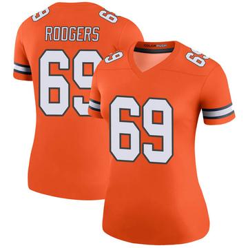 Women's Nike Denver Broncos Jake Rodgers Orange Color Rush Jersey - Legend