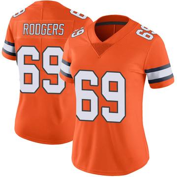 Women's Nike Denver Broncos Jake Rodgers Orange Color Rush Vapor Untouchable Jersey - Limited
