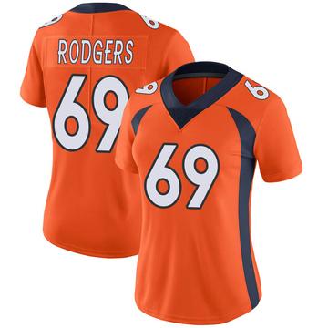 Women's Nike Denver Broncos Jake Rodgers Orange Team Color Vapor Untouchable Jersey - Limited