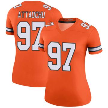 Women's Nike Denver Broncos Jeremiah Attaochu Orange Color Rush Jersey - Legend