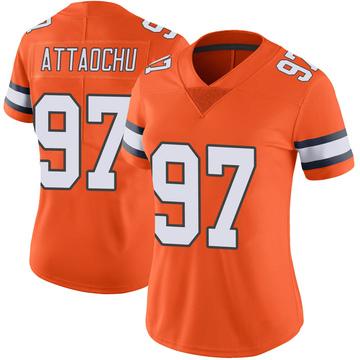Women's Nike Denver Broncos Jeremiah Attaochu Orange Color Rush Vapor Untouchable Jersey - Limited