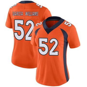 Women's Nike Denver Broncos Jerrol Garcia-Williams Orange Team Color Vapor Untouchable Jersey - Limited