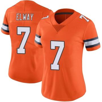 Women's Nike Denver Broncos John Elway Orange Color Rush Vapor Untouchable Jersey - Limited