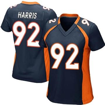 Women's Nike Denver Broncos Jonathan Harris Navy Blue Alternate Jersey - Game