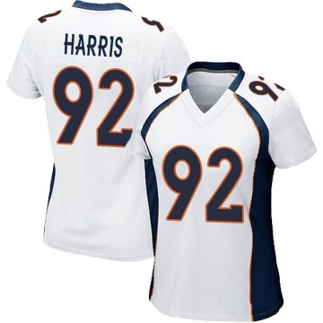 Women's Nike Denver Broncos Jonathan Harris White Jersey - Game
