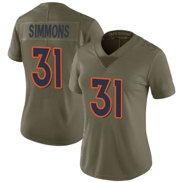 Women's Nike Denver Broncos Justin Simmons Green 2017 Salute to Service Jersey - Limited