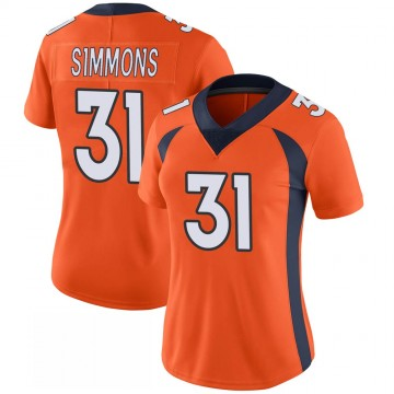 Women's Nike Denver Broncos Justin Simmons Orange 100th Vapor Jersey - Limited