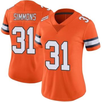 Women's Nike Denver Broncos Justin Simmons Orange Color Rush Vapor Untouchable Jersey - Limited