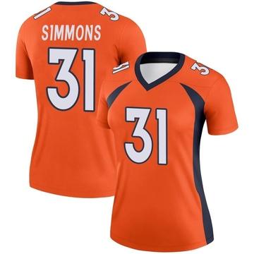 Women's Nike Denver Broncos Justin Simmons Orange Jersey - Legend