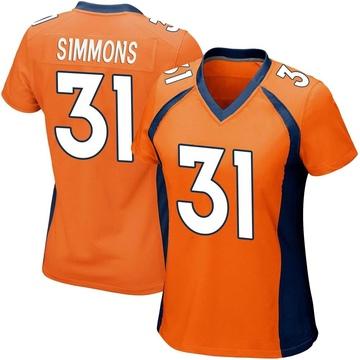 Women's Nike Denver Broncos Justin Simmons Orange Team Color Jersey - Game