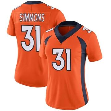 Women's Nike Denver Broncos Justin Simmons Orange Team Color Vapor Untouchable Jersey - Limited